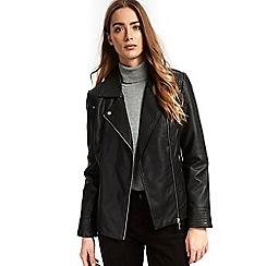 Wallis - Black stud faux leather jacket