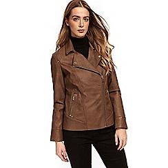 Wallis - Tan stud faux leather jacket