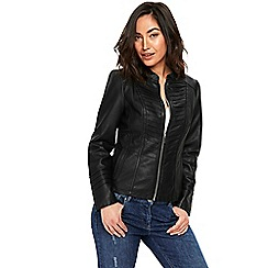 Wallis - Black pinstitch detail biker jacket