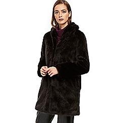 Wallis - Black plush faux fur coat
