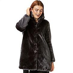 Wallis - Charcoal plush faux fur coat