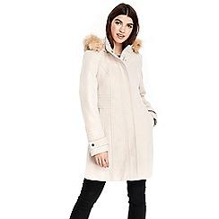 Wallis - Stone hooded faux wool funnel coat