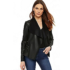 Wallis - Black double zip faux leather jacket