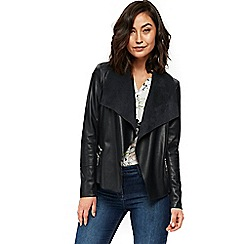 Wallis - Navy double zip faux leather jacket