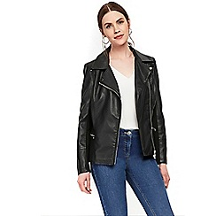 Wallis - Black faux leather biker jacket