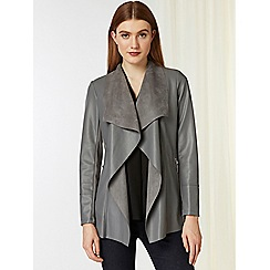 Wallis - Grey faux leather waterfall jacket