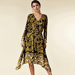 Wallis - Petite black printed midi shirt dress