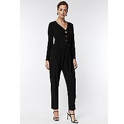 Wallis - Petite black button front tie jumpsuit