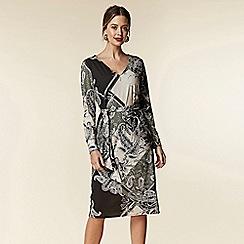 Wallis - Petite khaki patchwork paisley midi dress
