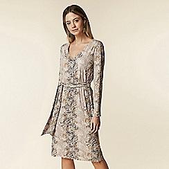 Wallis - Petite stone snake print belted dress