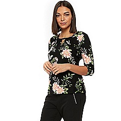 Wallis - Petite black bird floral top