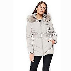 Wallis - Petite silver short padded coat