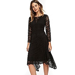 Wallis - Petite black lace fit and flare