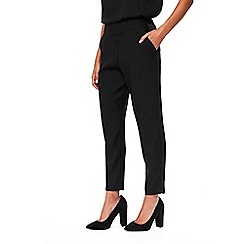Wallis - Petite black satin crepe tapered trousers