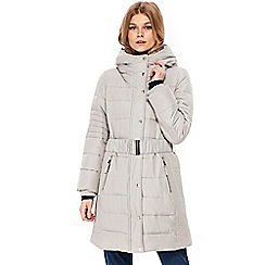 Wallis - Petite silver padded midi coat