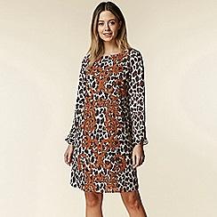 Wallis - Petite brown leopard print swing dress