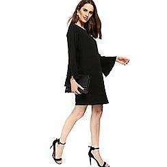 Wallis - Petite black flute sleeve dress