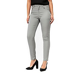 Wallis - Petite grey zip front trousers