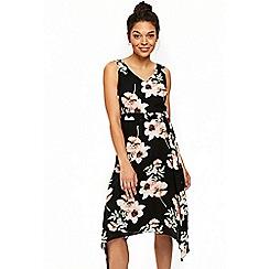 Wallis - Petite black peony dress