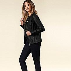 Wallis - Petite Black Faux Leather Biker Jacket