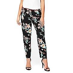 Wallis - Petite black oriental print trousers