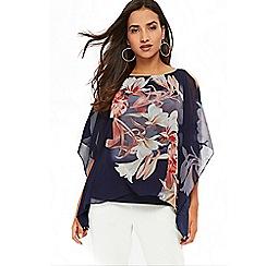 Wallis - Petite navy floral print layered top