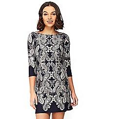 Wallis - Petite navy paisley print tunic dress