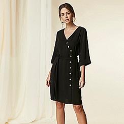 Wallis - Petite black asymmetric button wrap dress