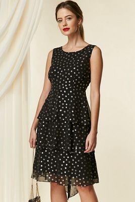 0de7c6c0b4 Wallis - Petite black floral tiered skater dress