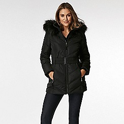 Wallis - Petite black short padded coat