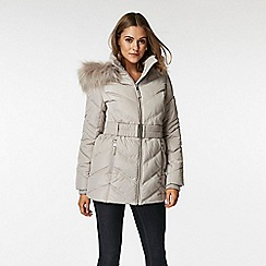 Wallis - Petite silver short padded belted coat