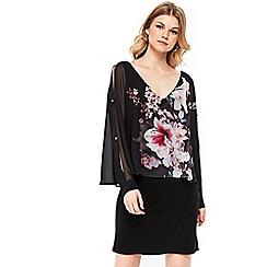 Wallis - Petite black pretty lily overlayer dress
