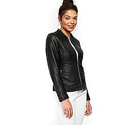 Wallis - Petite black polyurethane jacket