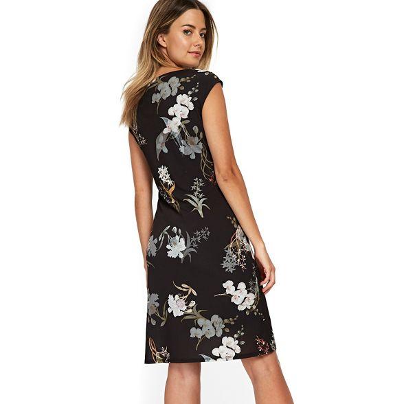 dress black ruche oriental blossom Wallis Petite 0OPwFF