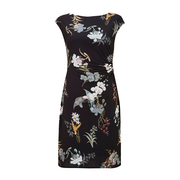 dress Wallis ruche blossom black Petite oriental FqqwBXS