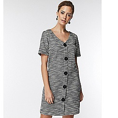 Wallis - Petite grey button shift dress