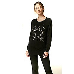 Wallis - Petite black sequin star jumper