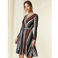 Wallis - Petite black striped wrap dress