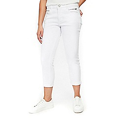 Wallis - Petite white roll up jeans