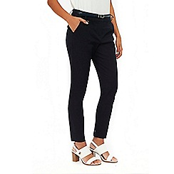Wallis - Petites navy belted trousers