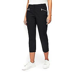 Wallis - Petite black cotton stretch cropped trouser