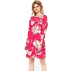 Wallis - Petite pink lily tie sleeve tunic dress