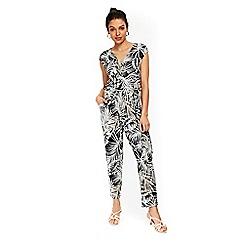 Wallis - Petite black palm print jumpsuit