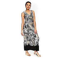 Wallis - Petite black palm print maxi dress