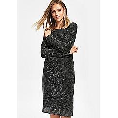 Wallis - Petite black shimmer ruched side shift dress