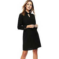 Wallis - Petite black twist neck dress