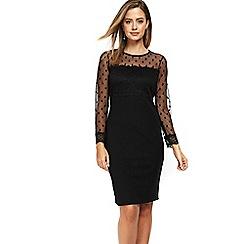 Wallis - Petite black dobby lace dress