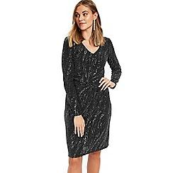 Wallis - Petites black shimmer ruched dress