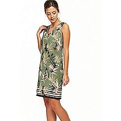 Wallis - Petite khaki pretty palm dress