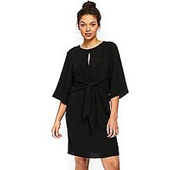 Wallis - Petite black tie front dress